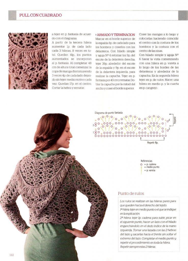 Bolero crochet capucha - Red Social Tejidos