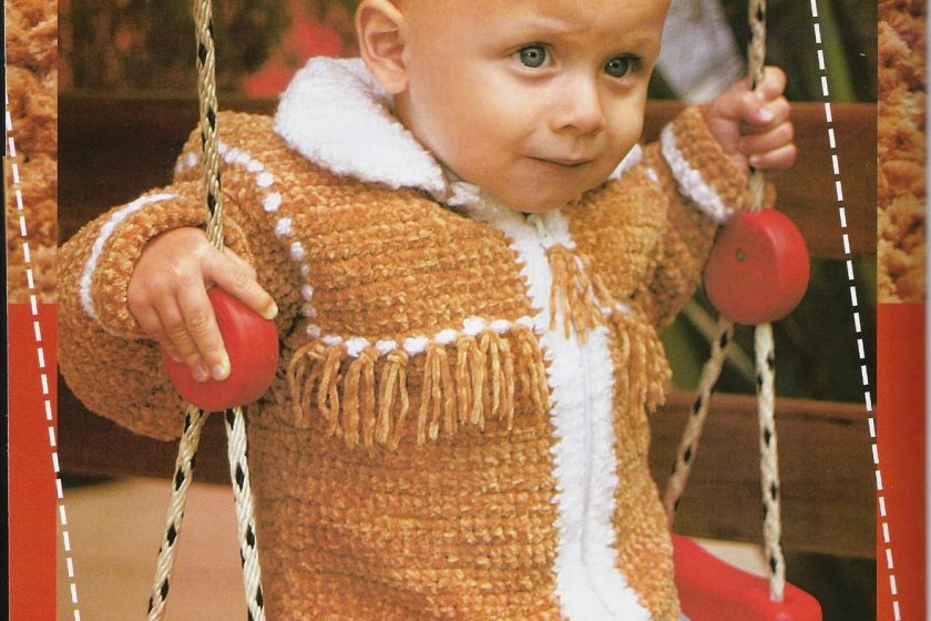 Chaqueta crochet bebe con flecos