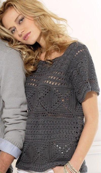 Blusa de crochet modelo Gabyta