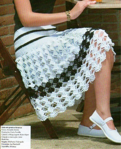 Falda ganchillo bicolor