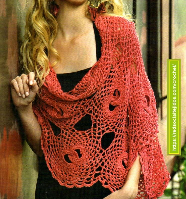 Chal con circulo entrelazados en crochet