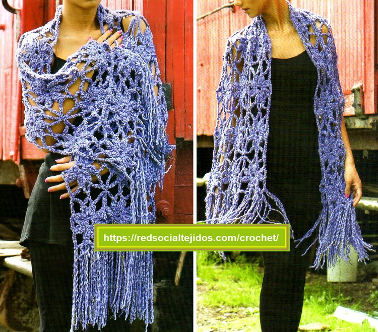 Chal de sutil calado tejido en crochet ▷ LINDO ▷ Red Social ...